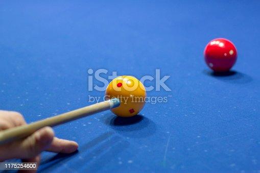 istock Unrecognizable man playing billiard taking aim 1175254600