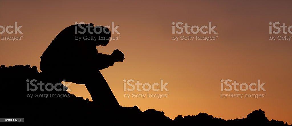 Unrecognizable Man Saying Morning Prayer royalty-free stock photo