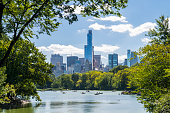 Unrecognizable people rowing in a lake during summer at Central Park, midtown Manhattan, New York City, USA.