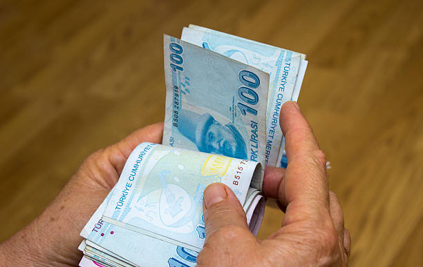 Unrecognizable person counting Turkish banknotes