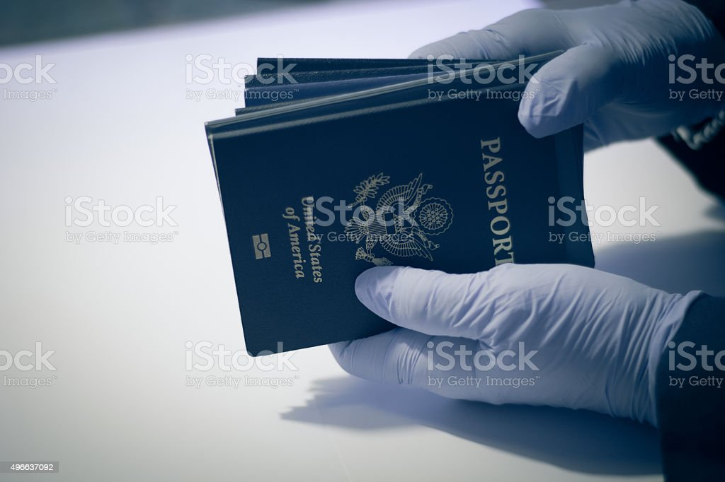 Unrecognizable person, having american passport stock photo