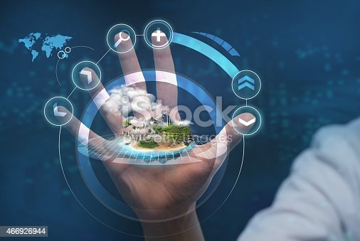 872670540 istock photo Unrecognizable person working with holographic city plan 466926944