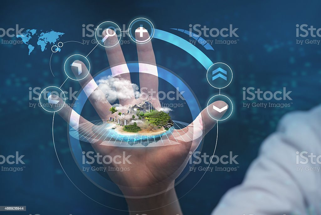Unrecognizable person working with holographic city plan stock photo