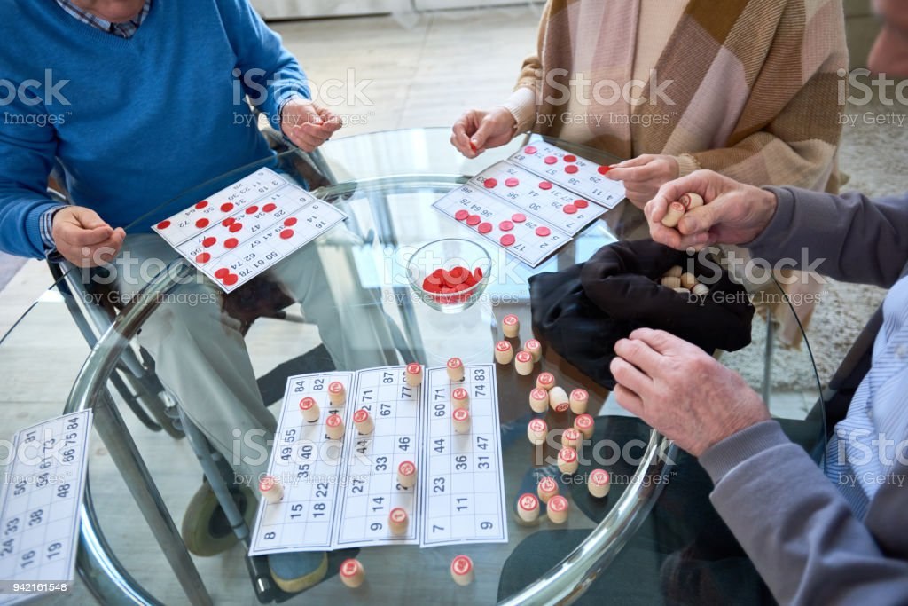 Unrecognizable Senior People Playing Lotto stock photo