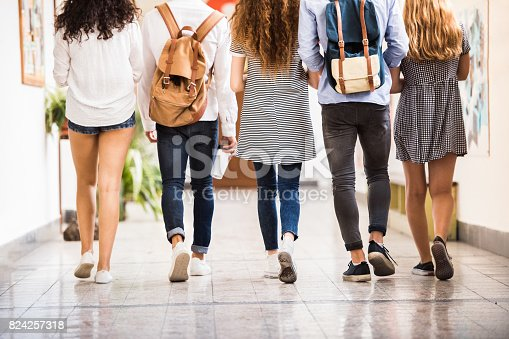 istock Unrecognizable teenage students in high school hall. 824257318