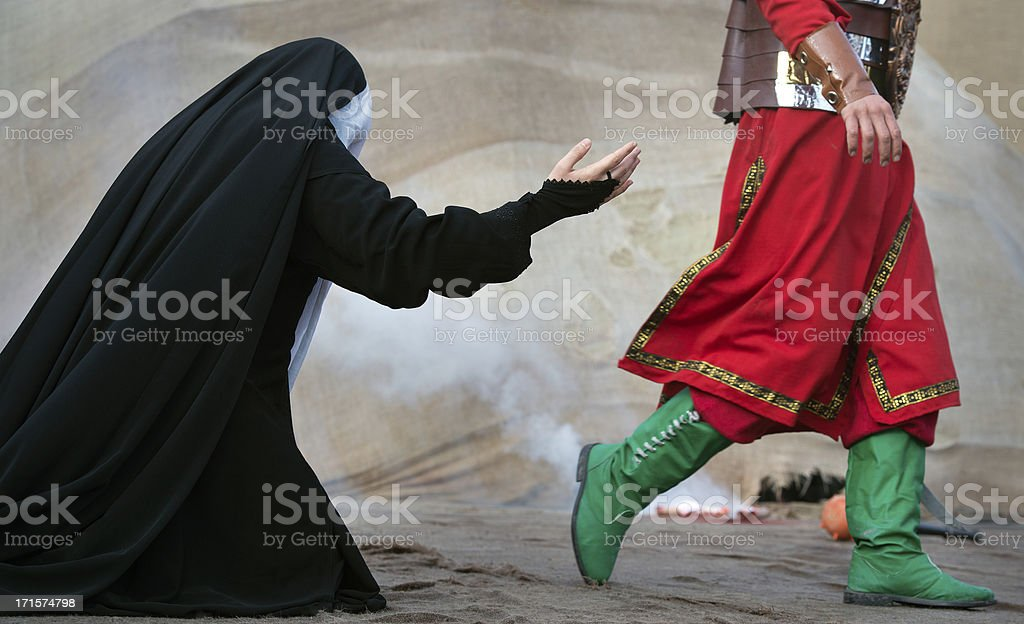Unrecognized muslim woman and man stock photo