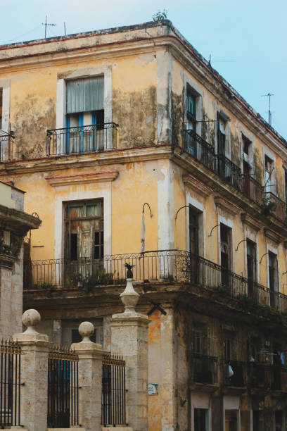 unrestored house in Havana, Cuba stock photo