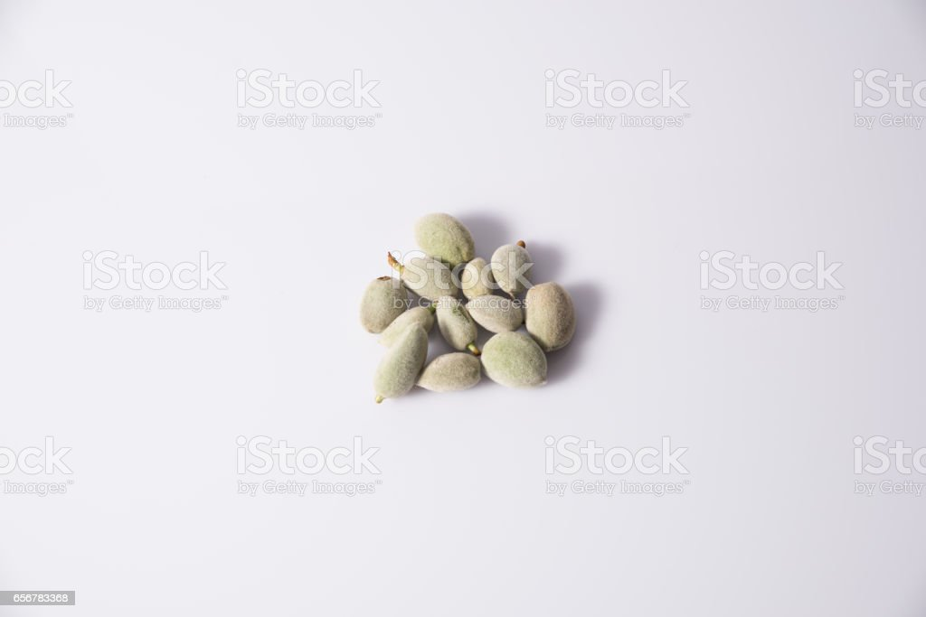 Unripe almond stock photo
