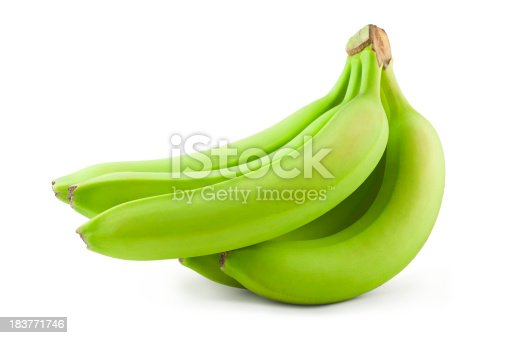 Green unripe bananas isolated on white. Includes clipping path.
