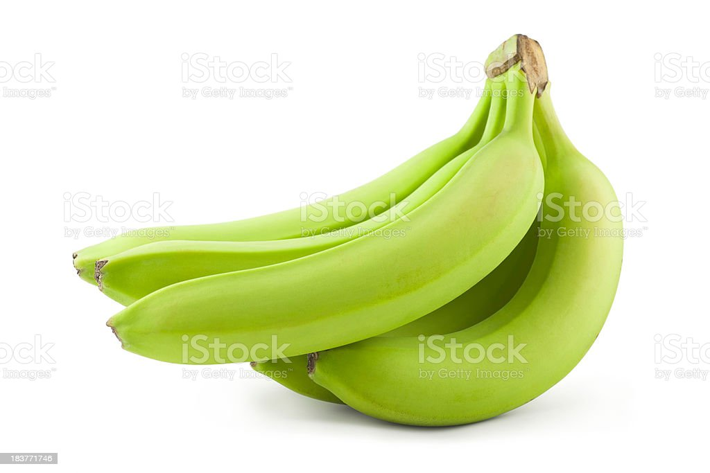 Unripe bananas stock photo