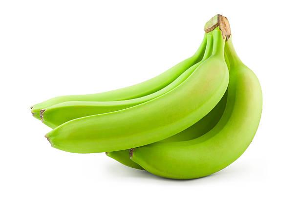 Unripe bananas stock photo