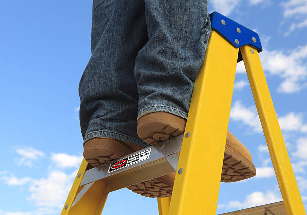 unsafe step - ladder stock photos and pictures