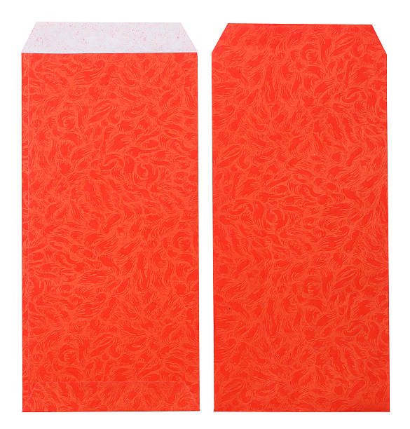 unsealed chinese style red pocket on white stock photo