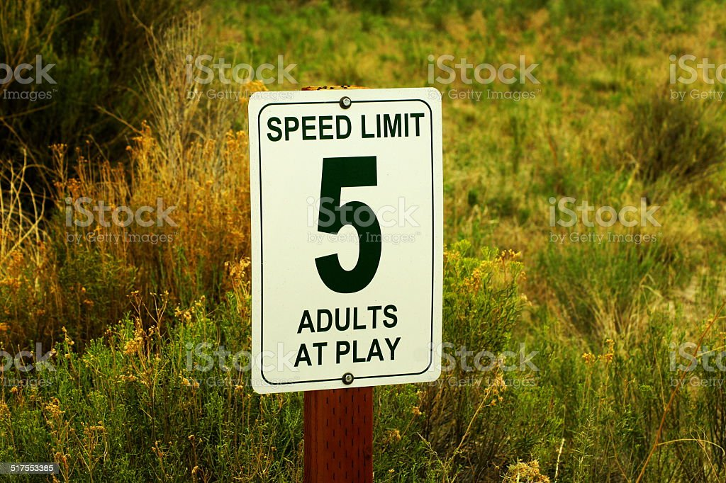 Unserious ,,Adults at play' speed limit sign stock photo