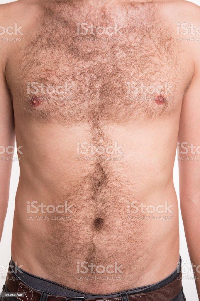 Unshaven Mann der Brust und Bauch – Foto