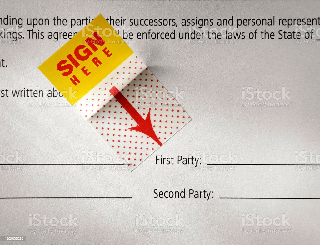 Unsigned Contract royalty-free stock photo