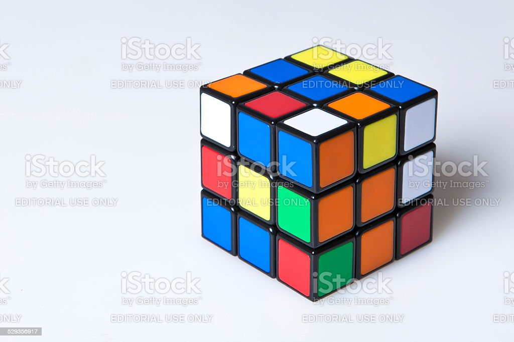 unsolved Rubik's cube stock photo