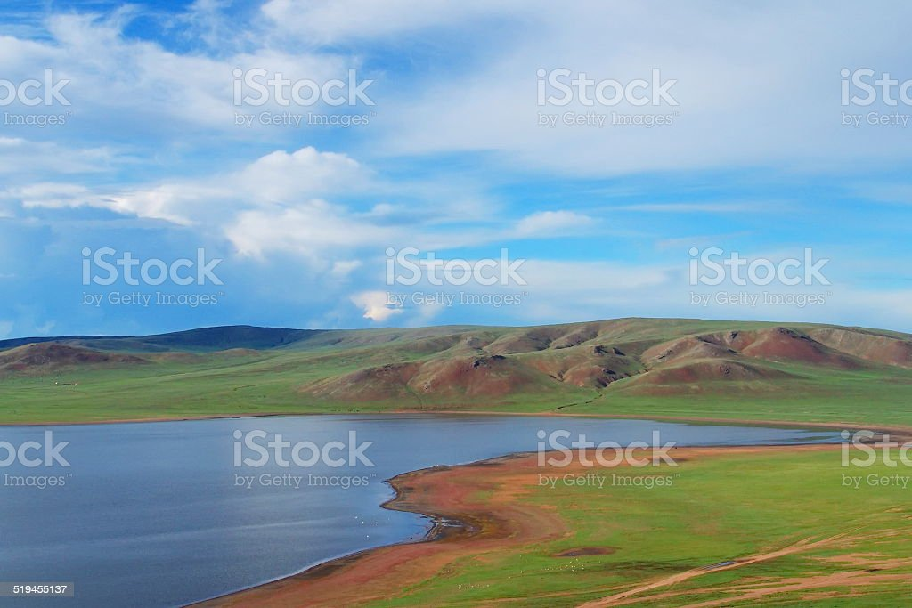 Unspoiled and pristine Mongolian landscape stock photo