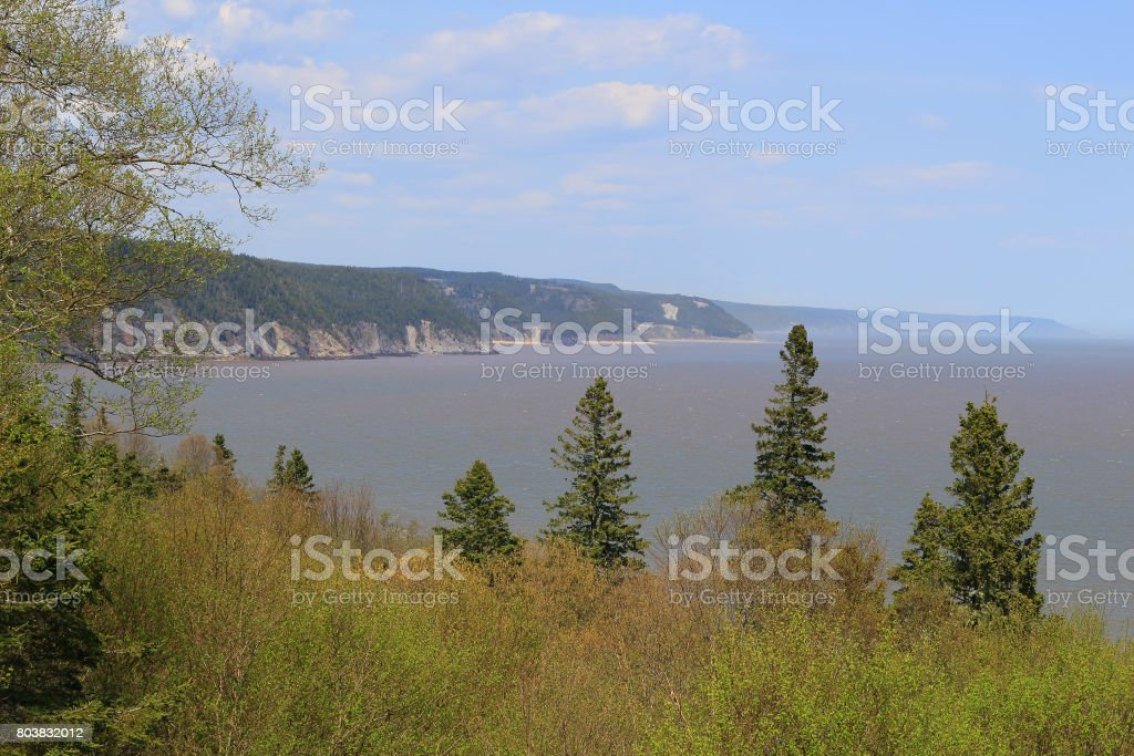 Unspoiled Beaches on the coast of  the Fundy Trail Parkway in New Brunswick, Canada stock photo