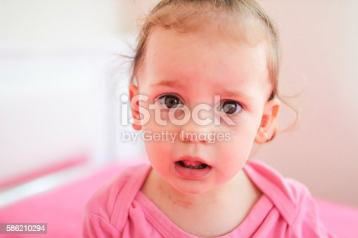 istock Unstable face expression from little cute kid 586210294