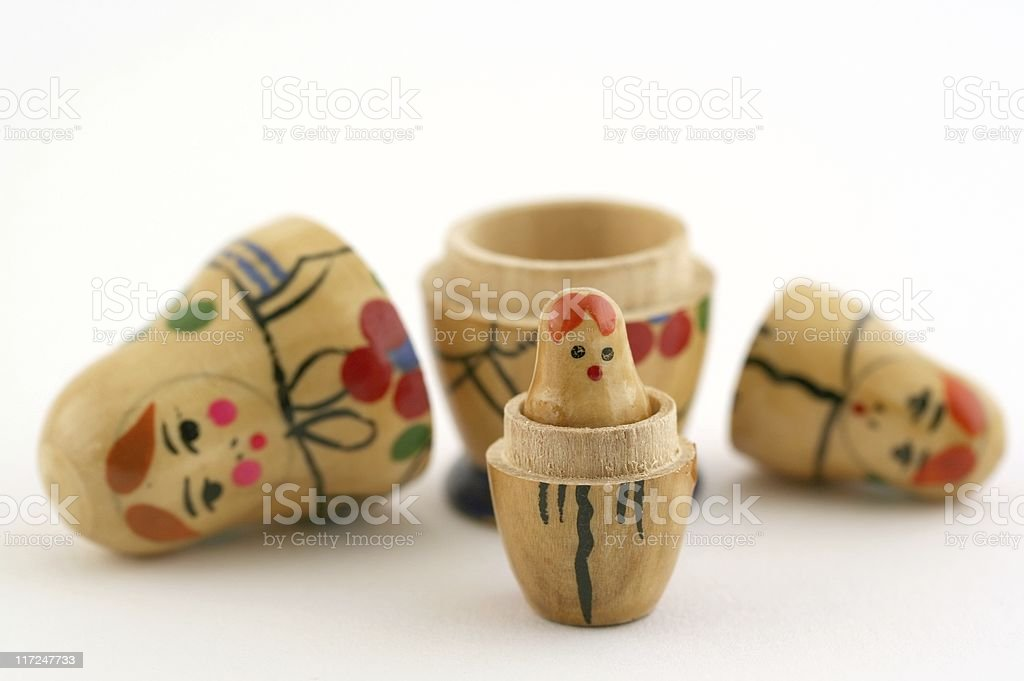 Unstacked Russian Nesting Dolls royalty-free stock photo