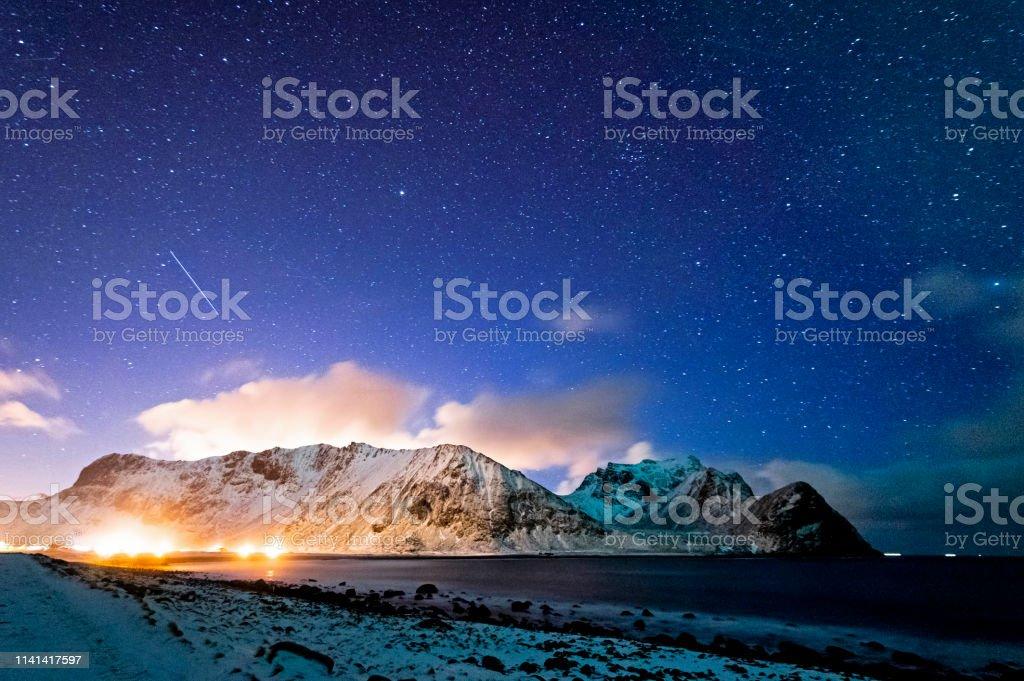 Unstad Beach at Night royalty-free stock photo