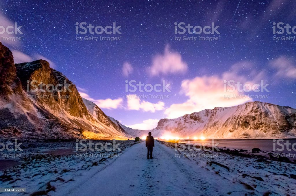 Unstad Beach at Night stock photo
