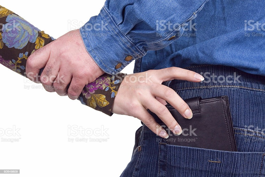 Unsuccessful theft. stock photo