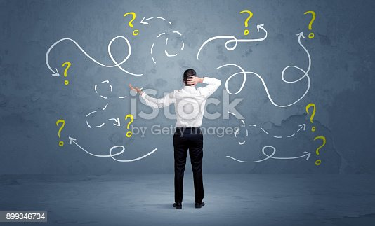 istock Unsure businessman with question marks 899346734