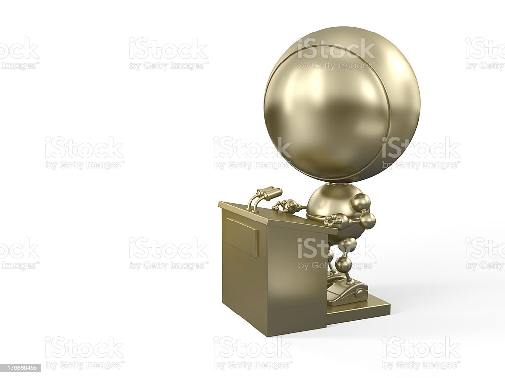 Unsure golden Robot on the stage royalty-free stock photo