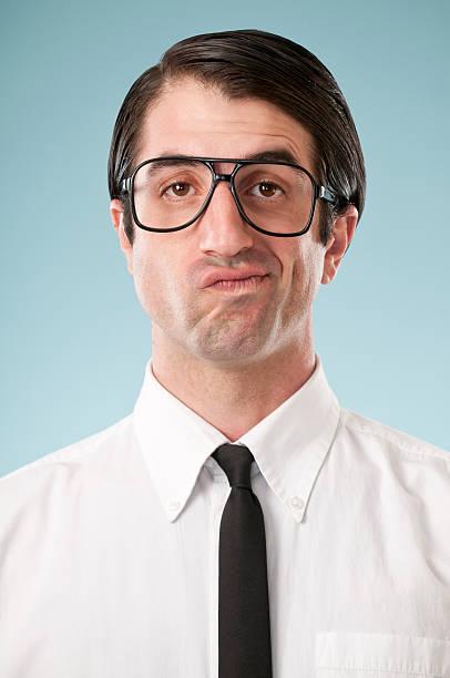 unsure nerdy office worker - 諷刺畫 個照片及圖片檔