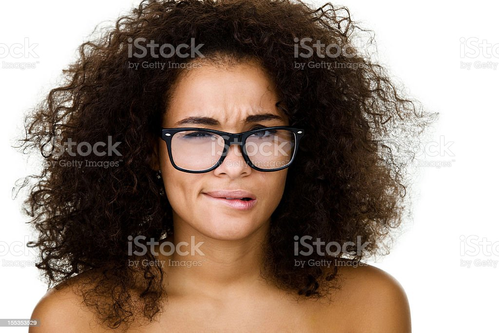 Unsure woman stock photo