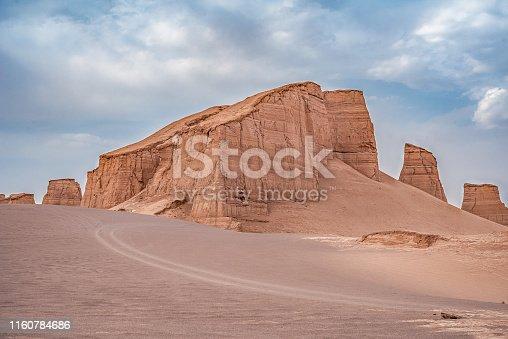 unsurpassed landscapes of sandy rocks in Dasht-e-Lut, Lut desert,hottest desert in the world, also known like Kalut Desert