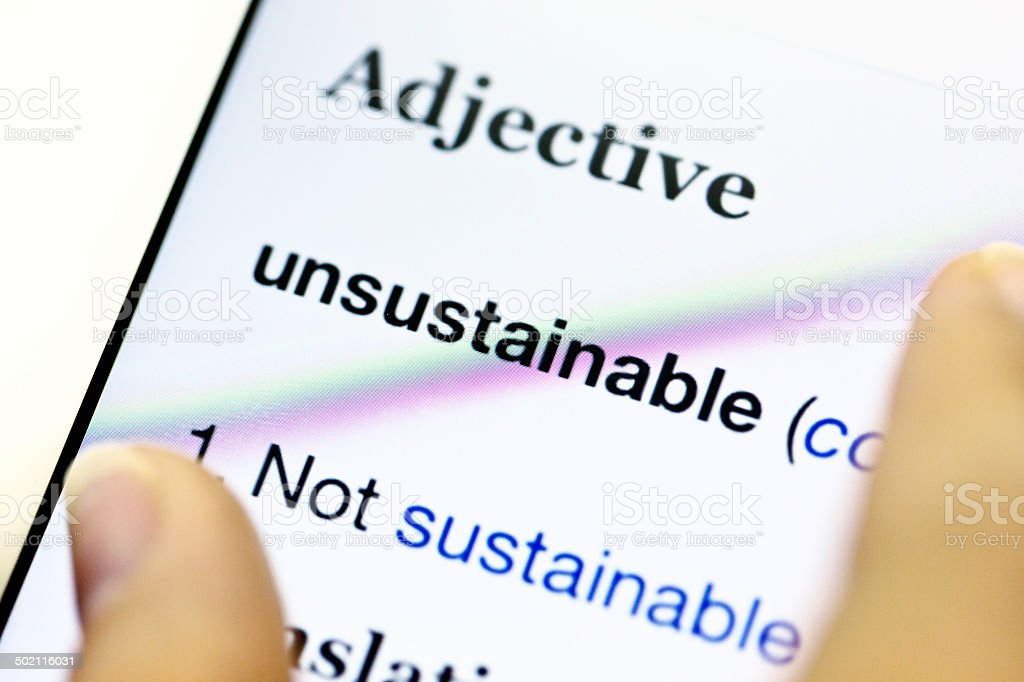 'unsustainable' entry from online dictionary stock photo