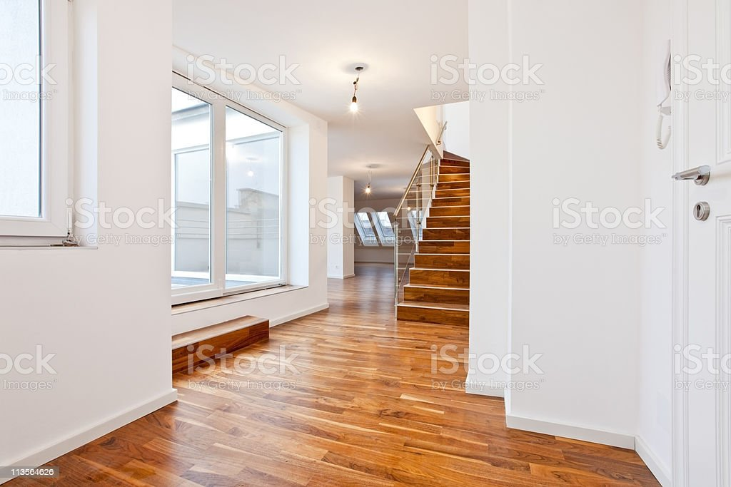 untenanted apartment / loft in Contemporary architectural style stock photo