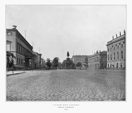 Antique German Photograph: Unter Den Linden, Berlin, Germany, 1893. Source: Original edition from my own archives. Copyright has expired on this artwork. Digitally restored.