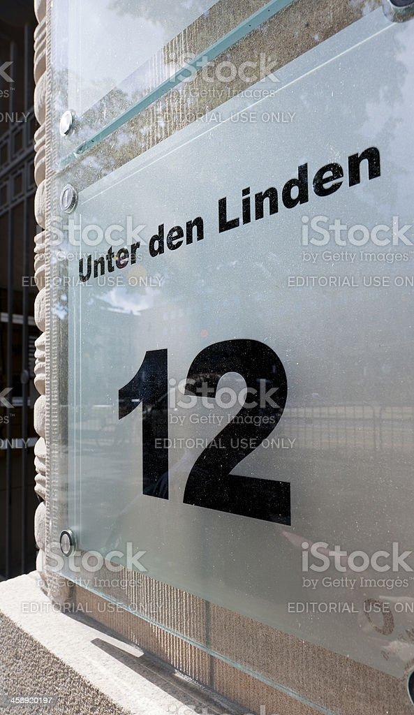 Unter den Linden number 12 royalty-free stock photo