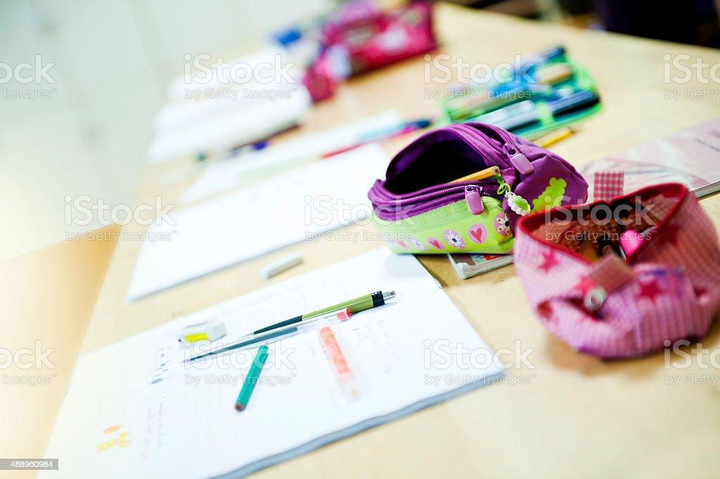 Untidy empty classroom stock photo