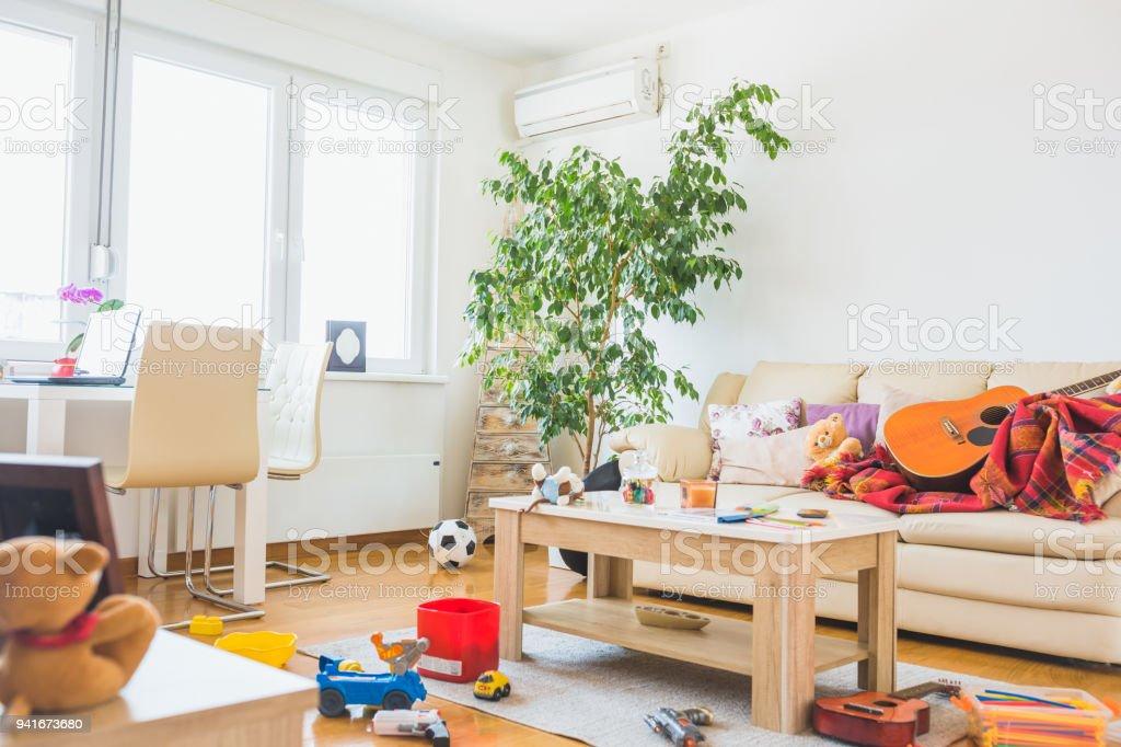 Untidy living room. stock photo