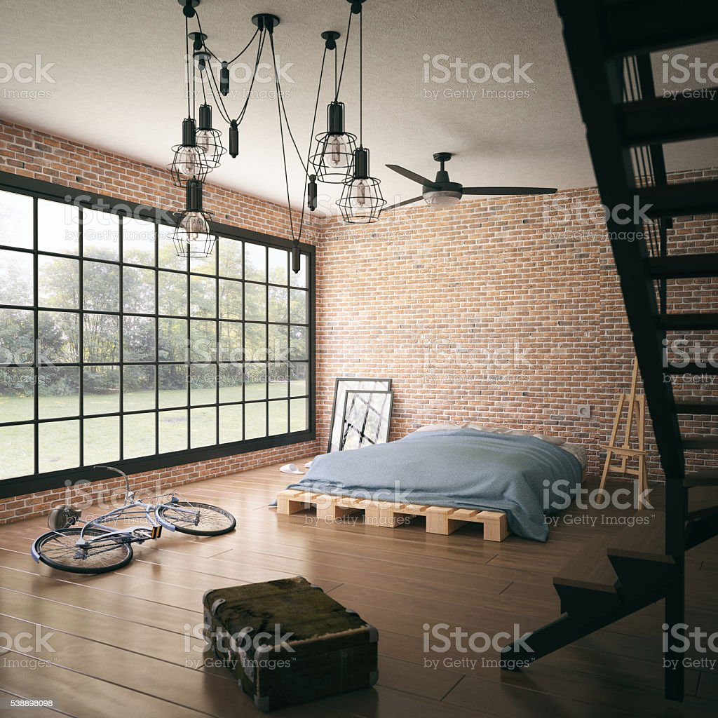 Untidy loft room stock photo