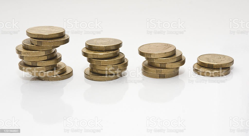 Untidy Trending Down Coin Graph stock photo