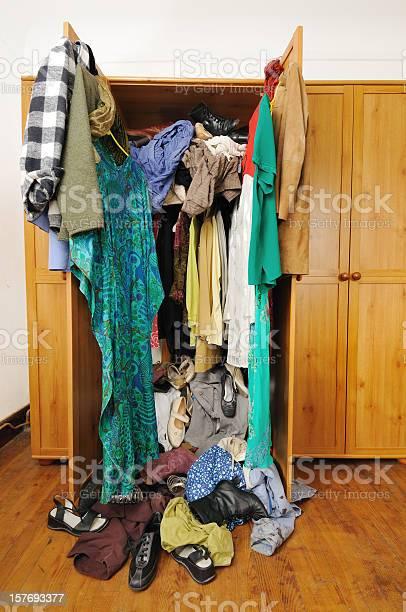 Untidy Wardrobe Stock Photo - Download Image Now