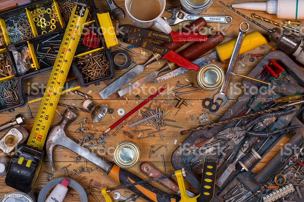 Untidy Workbench - Old Tools stock photo