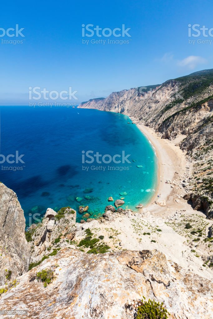 Untouchable beach by an azure sea stock photo