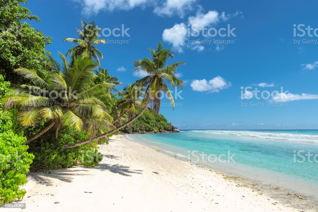Untouched sandy beach and beautiful sea stock photo