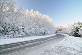 istock Untreated Road with Snow Laden Tree 157527620