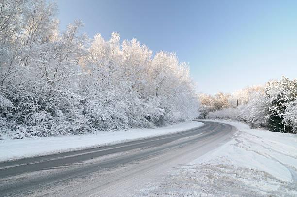Unbehandelten Road mit Schnee Laden Tree – Foto