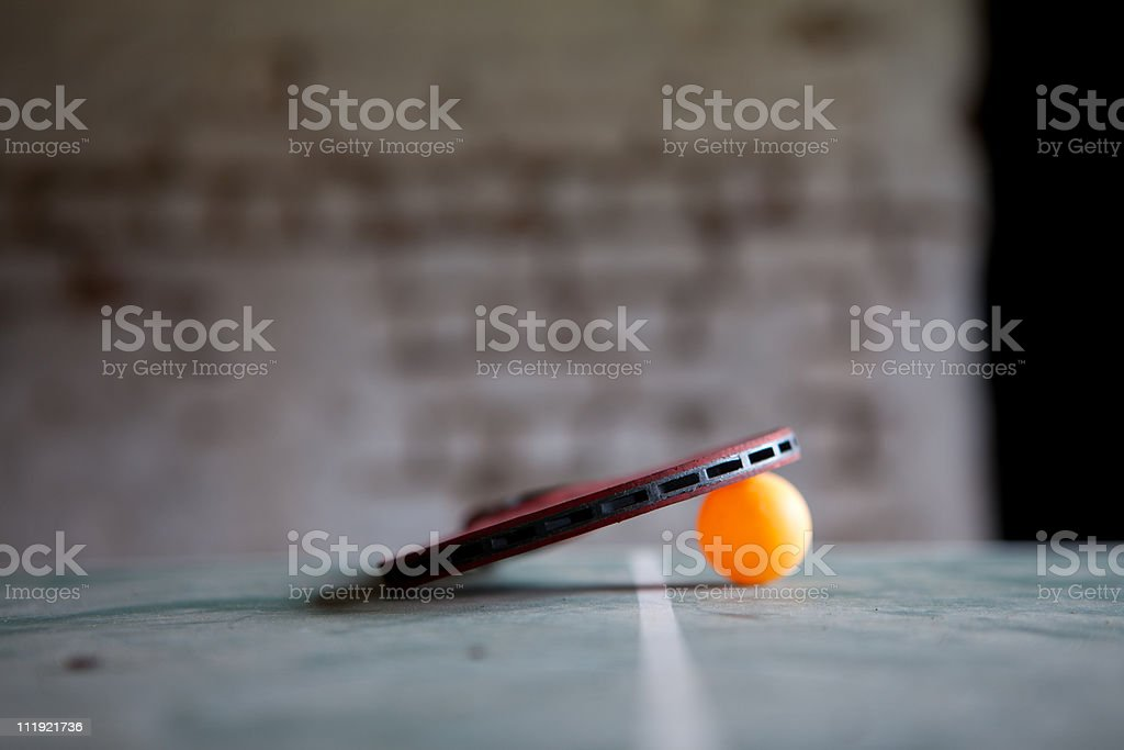 Unused Table Tennis Bat and Ball stock photo