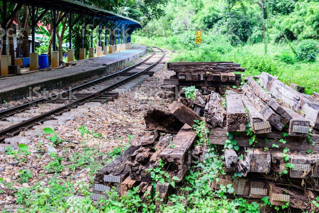 Unused wooden railway sleepers near railway track. ロイヤリティフリーストックフォト