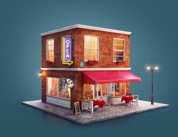 Ungewöhnliche 3D-Illustration eines gemütlichen Cafés – Foto